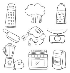 Doodle of kitchen equipment hand draw vector