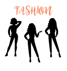 fashion woman silhouette in casual clothes vector image