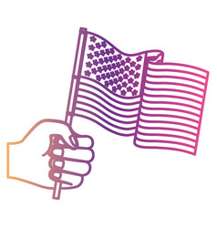 hand holding united states waving flag gradient vector image