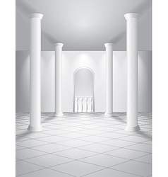 White hall with columns vector image