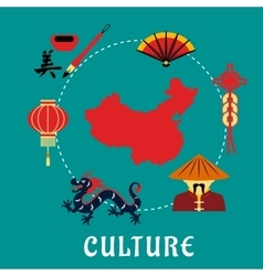 Chinese culture icons around a map vector image vector image