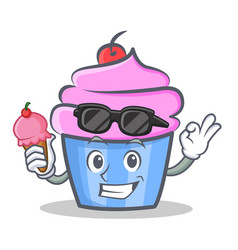 cupcake character cartoon style with ice cream vector image