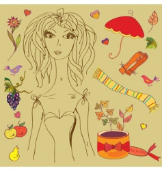 girl with fashion autumn vector image vector image