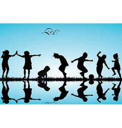 Group of children silhouettes playing vector image vector image