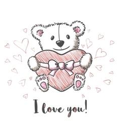 Love card with hand drawn cute bear vector image