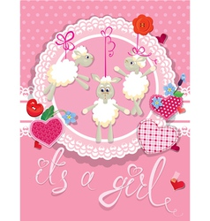 sheep pink card 380 vector image