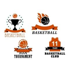 Basketball club and tournament emblem templates vector image vector image