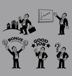 businessman line art character vector image vector image