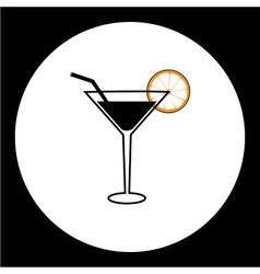 cocktail alcohol drink with lemon and straw simple vector image