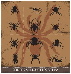 halloween spiders silhouettes symbols set vector image vector image