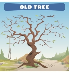 Old dead tree with the gallows wild west vector