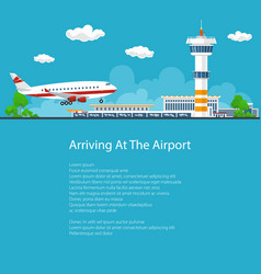 passenger plane comes in to land flyer design vector image