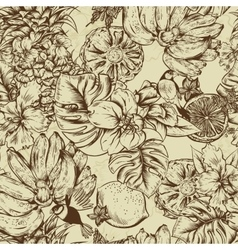 Vintage Monochrome Seamless Background Tropical vector image