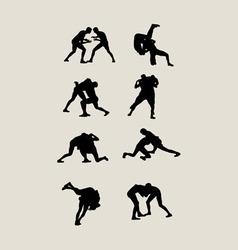 Wrestlers fighting vector