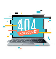 404 not found page in computer concept glitch vector