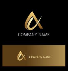 Alpha sign abstract gold logo vector