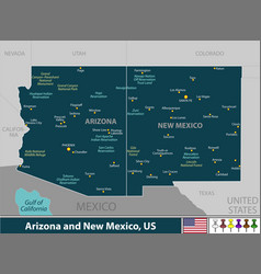 arizona and new mexico united states vector image