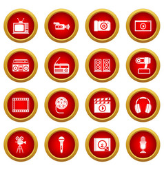 Audio and video icon red circle set vector