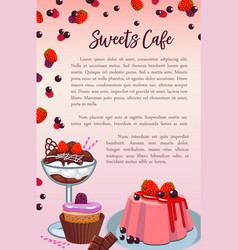 bakery sweet desserts and cakes poster vector image