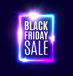 black friday sale neon banner modern background vector image