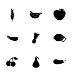 Black fruit and vegetables icons set vector