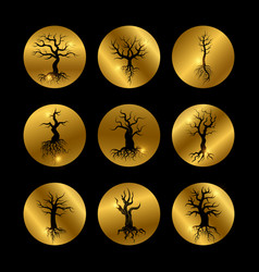 black trees silhouette icons set with shiny golden vector image