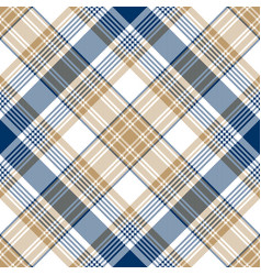 blue gold tartan diagonal seamless pattern vector image