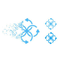 Broken pixelated halftone knot rotation icon vector