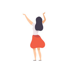 Brunette girl standing with raised hands at open vector