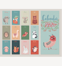 Calendar 2020 with woodland characters cute vector