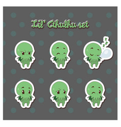 cartoon cthulhu sticker vector image