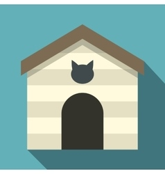 Cat house icon flat style vector image