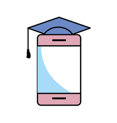 cellphone with graduation cap vector image
