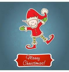 Christmas card with cute little elf Santa helper vector