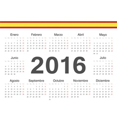 Circle spanish 2016 year calendar vector