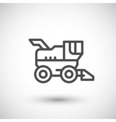 Combine harvester line icon vector