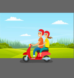couple rides motorcycle on road nature green vector image