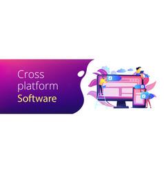 Cross-platform software concept banner header vector