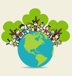 Cute children on Green Eco Earth vector