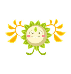 Cute fantastic flower character nature element vector