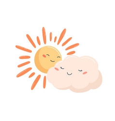 cute glowing sun and smiling cloud characters vector image