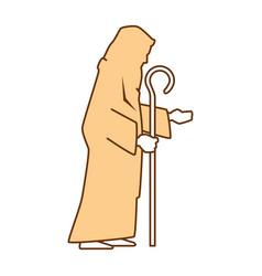 Cute saint joseph silhouette character vector