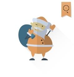 Cute Santa Claus with Big Gifts Bag vector image