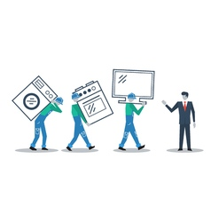 Delivery workers and manager move in concept vector image