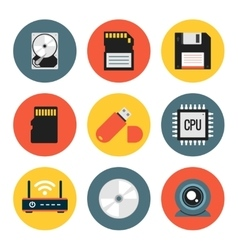 Digital Data Flat Icons vector image