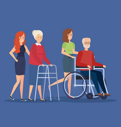 Disabled old woman and man design vector