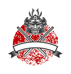 emblem with samurai helmet and crossed katana vector image