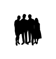 Family silhouettes parents and teens vector