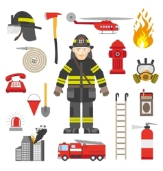 Fireman professional equipment flat icons vector