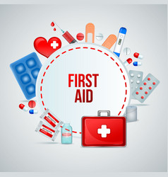 first aid realistic composition vector image